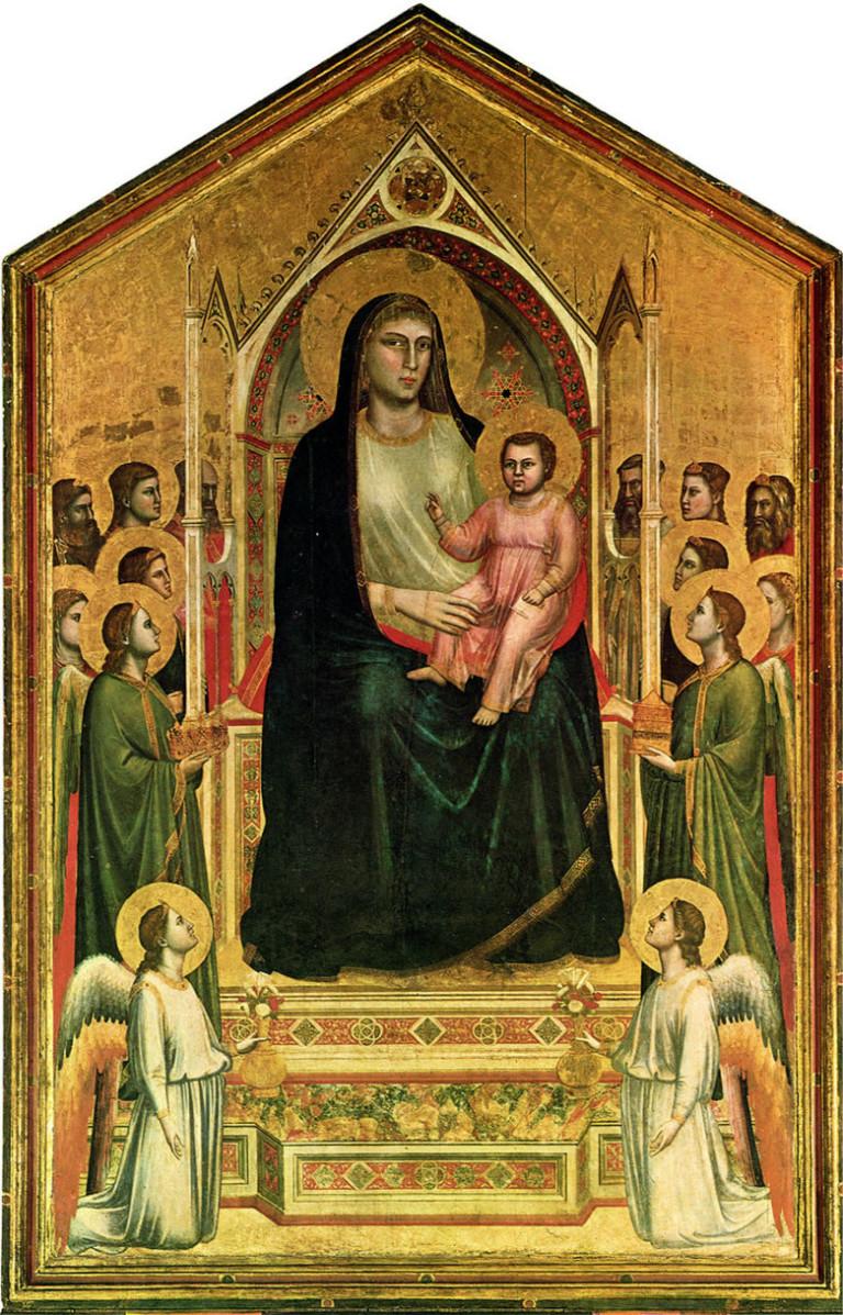 Giotto's Maestà in the Uffizi Gallery, Florence, Italy